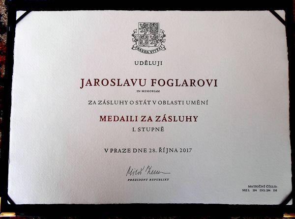 Státní vyznamenání pro Jaroslava Foglara