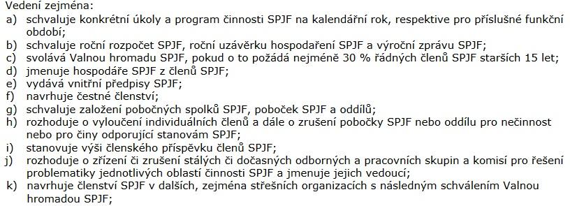 Pravomoci Vedení SPJF